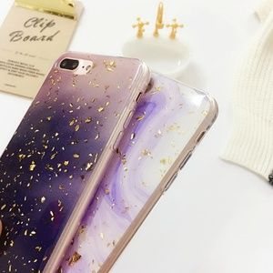 Accessories - NEW iPhone 7/8 Purple and Gold Foil Case